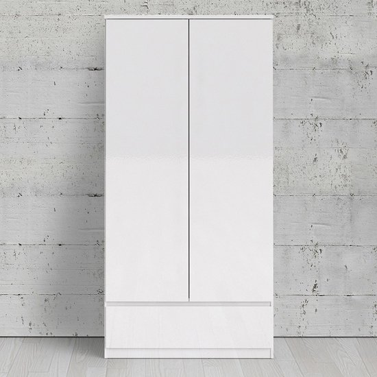 Product photograph showing Nakou High Gloss 2 Doors 1 Drawer Wardrobe In White