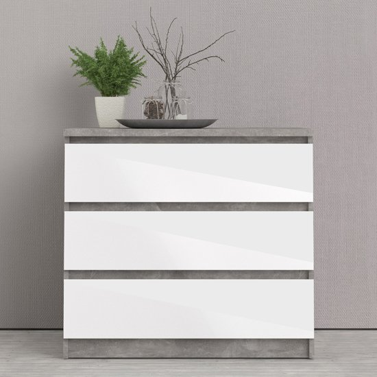 Nakou High Gloss Chest Of 3 Drawers In Concrete And White
