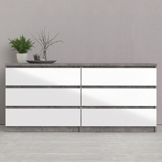 Nakou Wide High Gloss Chest Of 6 Drawers In Concrete And White