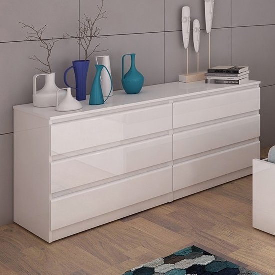 Product photograph showing Nakou Wide High Gloss Chest Of 6 Drawers In White