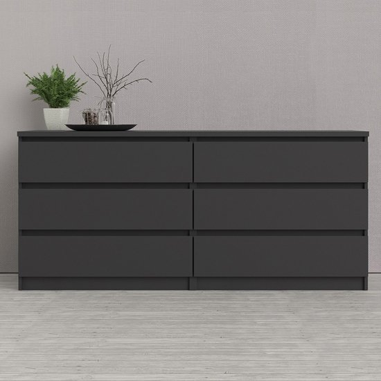 Nakou Wide Wooden Chest Of 6 Drawers In Matt Black