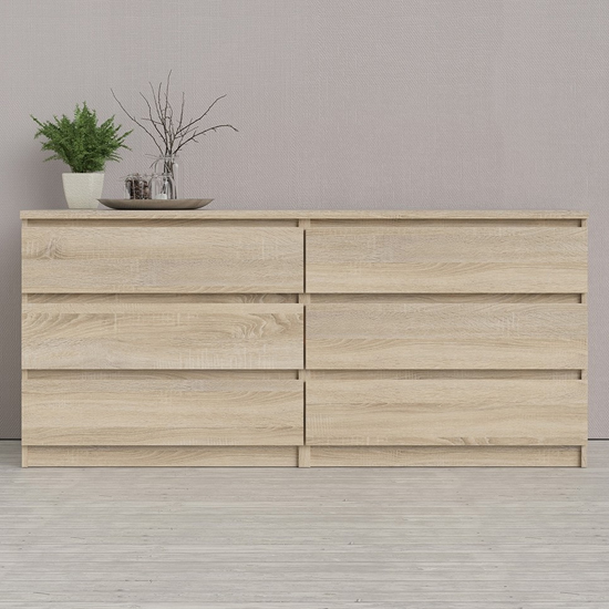 Nakou Wide Wooden Chest Of 6 Drawers In Oak