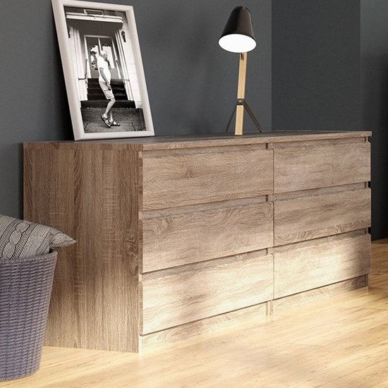 View Nakou wide wooden chest of 6 drawers in truffle oak
