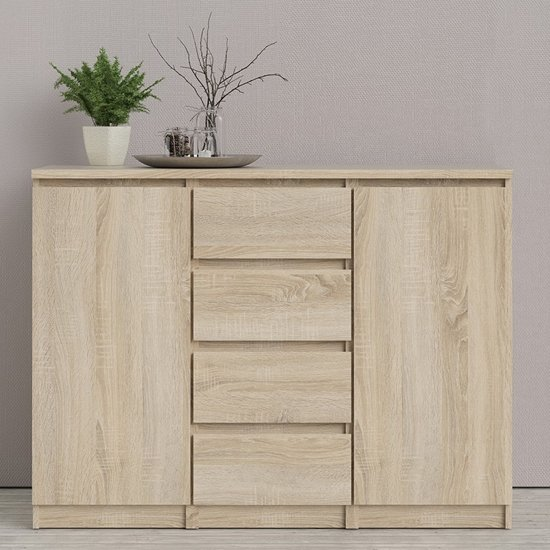 Product photograph showing Nakou Wooden 2 Doors 4 Drawers Sideboard In Oak