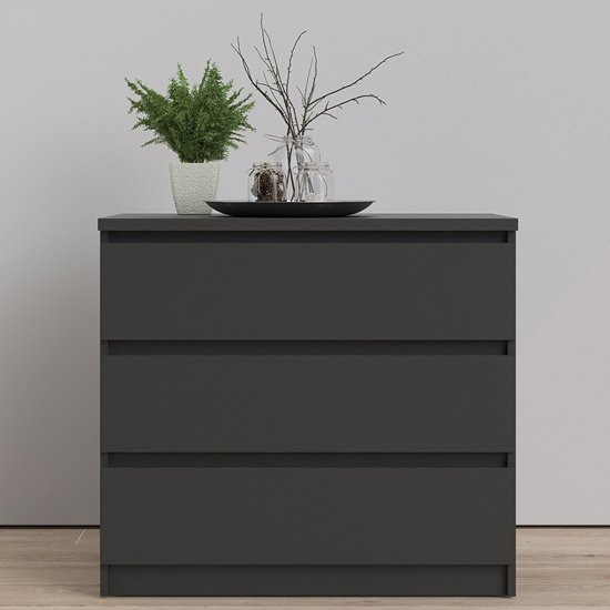 Nakou Wooden Chest Of 3 Drawers In Matt Black