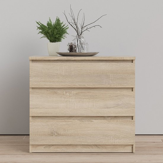 Nakou Wooden Chest Of 3 Drawers In Oak