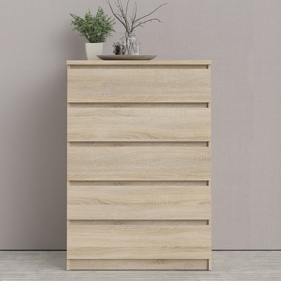 Nakou Wooden Chest Of 5 Drawers In Oak