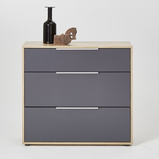 Nala Chest Of Drawers In Knotty Oak And Matt Grey With 3 Drawer
