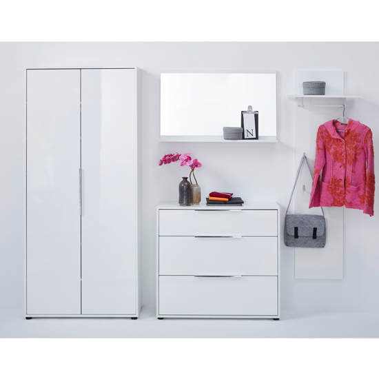 Product photograph showing Nala Hallway Furniture Set With Wardrobe In White High Gloss