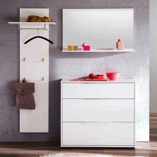 Nala Hallway Furniture Set In White High Gloss