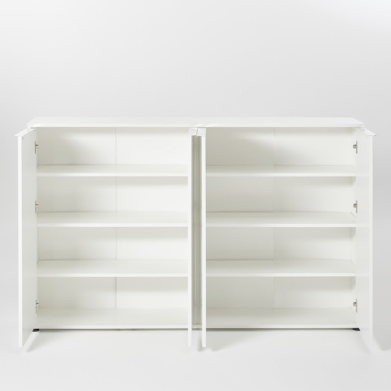 Nala Shoe Storage Cabinet In White High Gloss With 4 Door_2