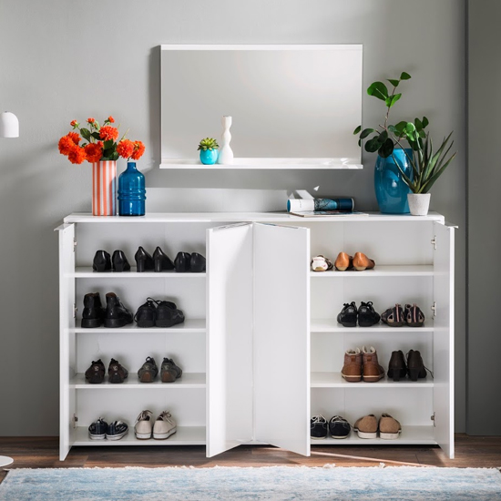 Nala Shoe Storage Cabinet In White High Gloss With 4 Door_3