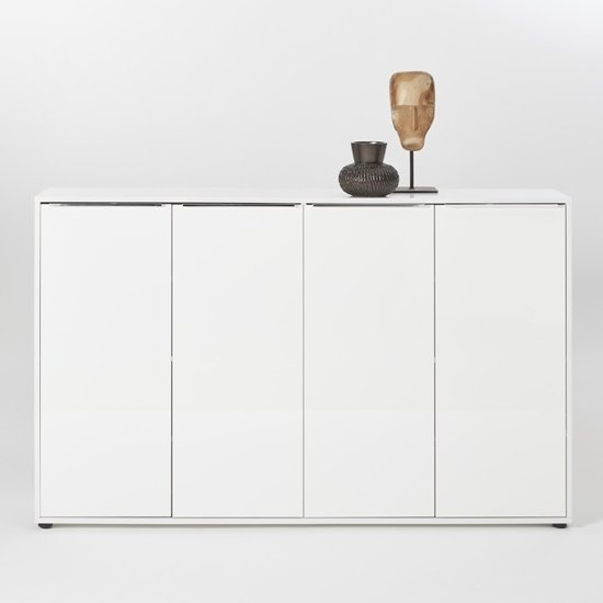 Nala Shoe Storage Cabinet In White High Gloss With 4 Door