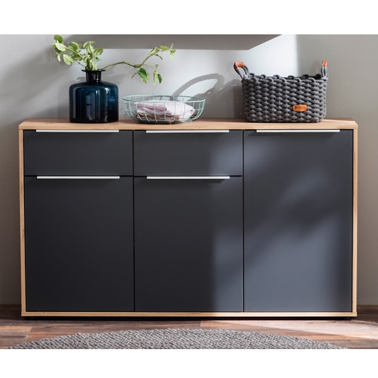 Nala Sideboard In Knotty Oak And Matt Grey With 3 Doors 2 Drawer