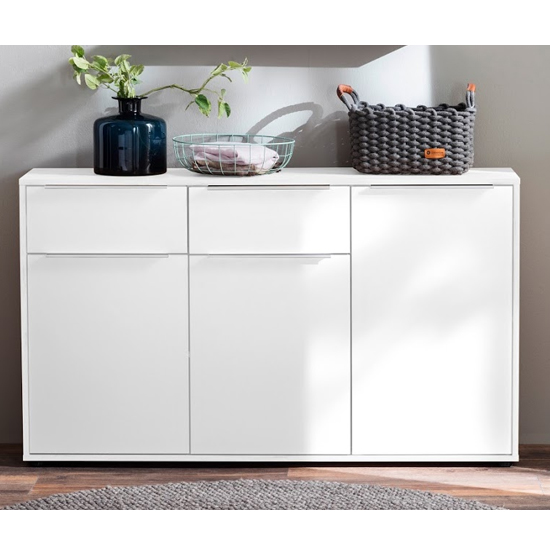Nala Sideboard In White High Gloss With 3 Doors And 2 Drawers