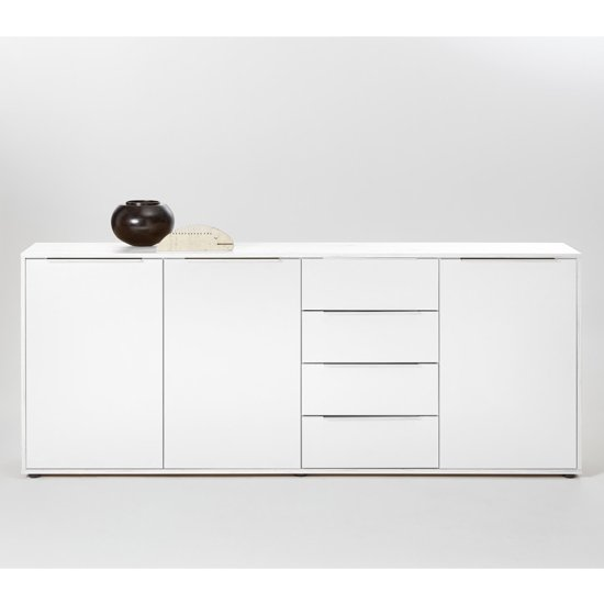 Nala Sideboard In White High Gloss With 3 Doors And 4 Drawers
