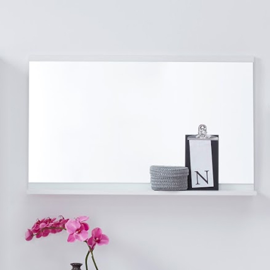 Nala Wall Mirror With Shelf In White High Gloss Frame