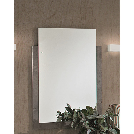 Namilon Bedroom Mirror In Grey Marble Effect Wooden Frame