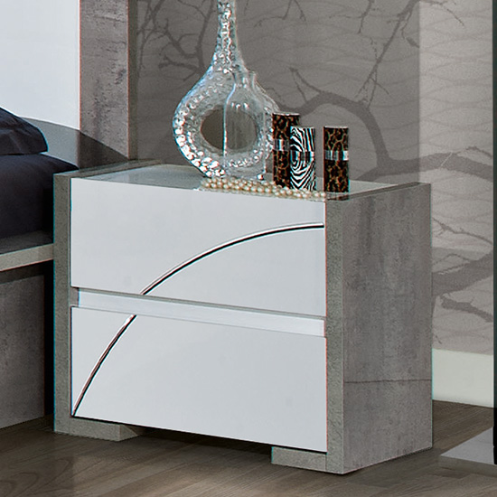Namilon Wooden Bedside Cabinet In White And Grey Marble Effect