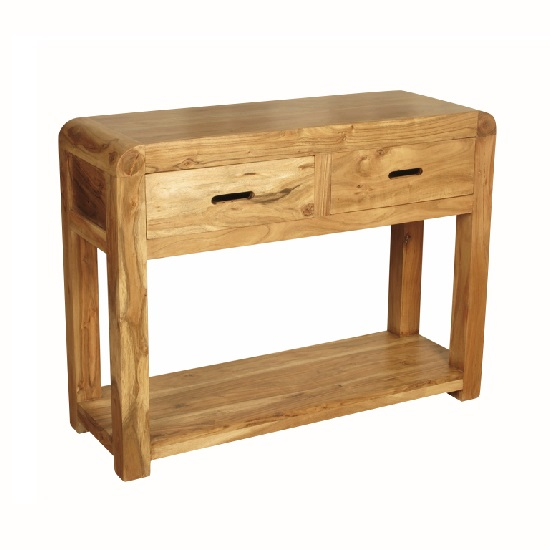 Nancy Console Table In Solid Acacia Wood With 2 Drawers