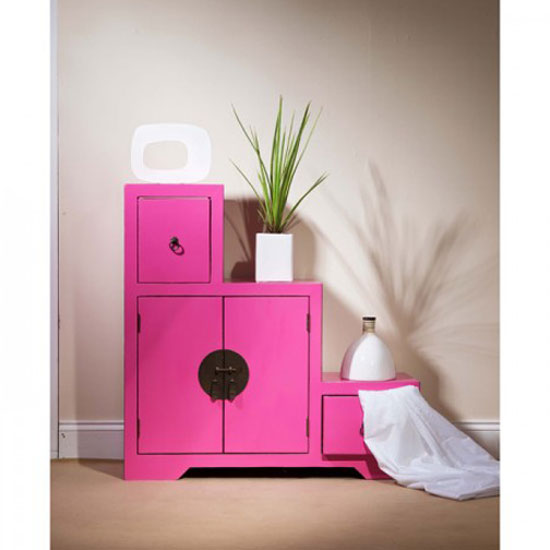 Anji 2 Step Storage Cabinet in Pink