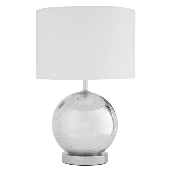 Naomic White Fabric Shade Table Lamp With Chrome Droplet Base