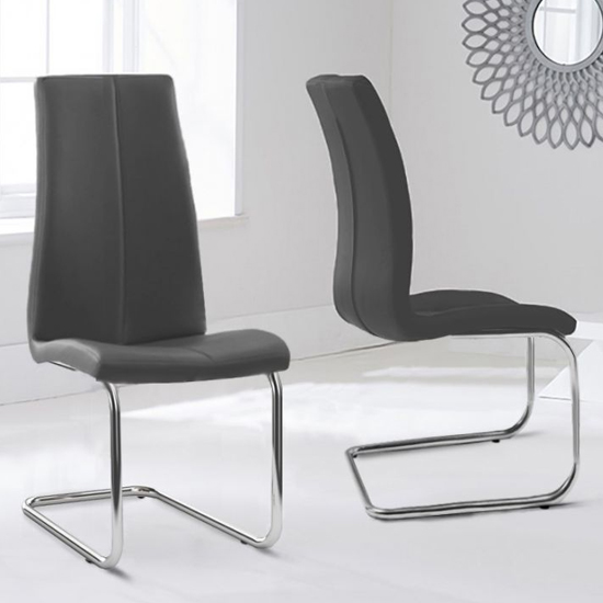 Naos Grey PU Leather Dining Chairs In Pair With Hooped Leg