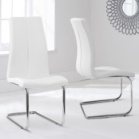 Naos White PU Leather Dining Chairs In Pair With Hooped Leg