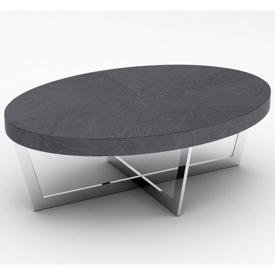 Napoli Oval Coffee Table In Slate High Gloss With Steel Base