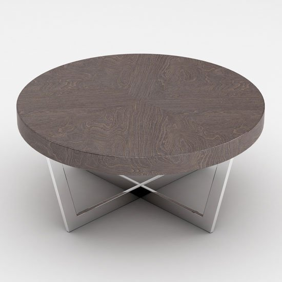 Napoli Round Coffee Table In Acorn High Gloss With Steel Base