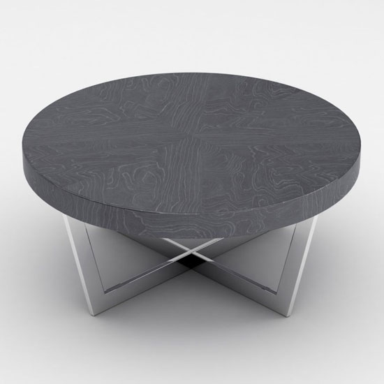 View Napoli round coffee table in slate high gloss with steel base