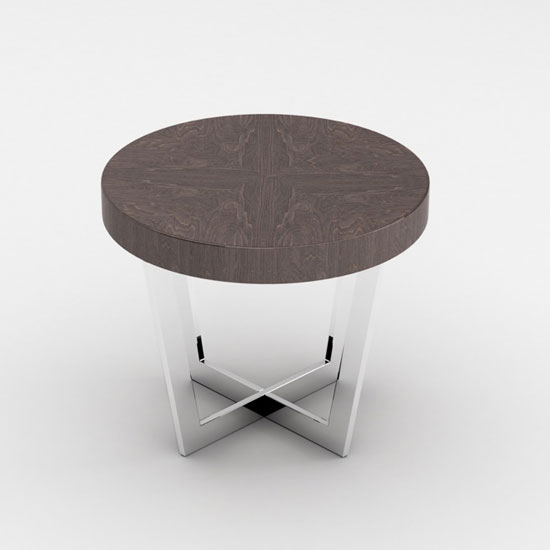 Napoli Round End Table In Acorn High Gloss With Steel Base