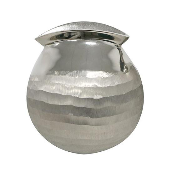 Narrow Aluminium Small Decorative Vase In Polished Silver