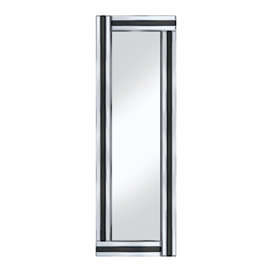 Black stripe 120x40 narrow mirror po918blk 15146 furniture for Narrow wall mirror decorative