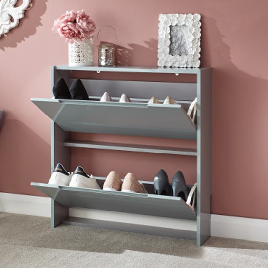 Narrow Wooden 2 Tier Shoe Storage Cabinet In Grey High Gloss_2