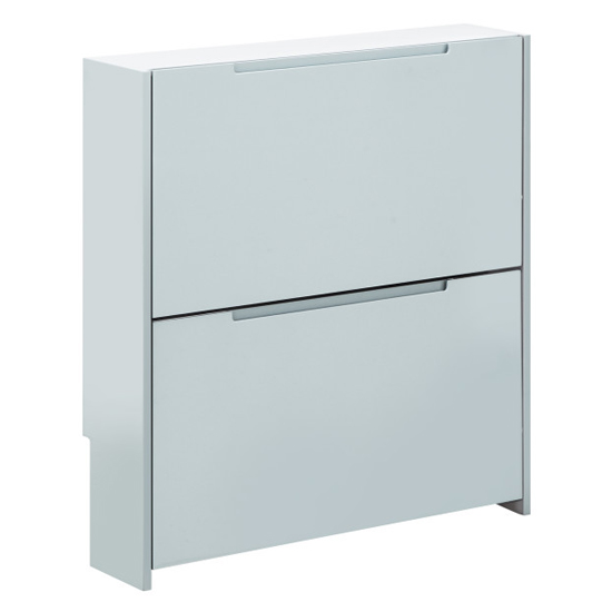 Narrow Wooden 2 Tier Shoe Storage Cabinet In Grey High Gloss_3