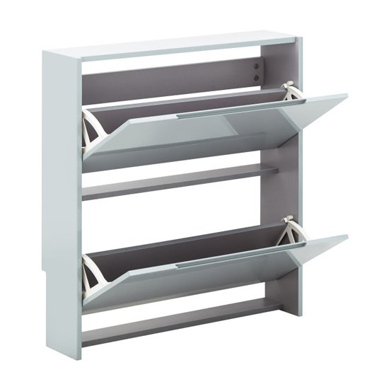 Narrow Wooden 2 Tier Shoe Storage Cabinet In Grey High Gloss_4