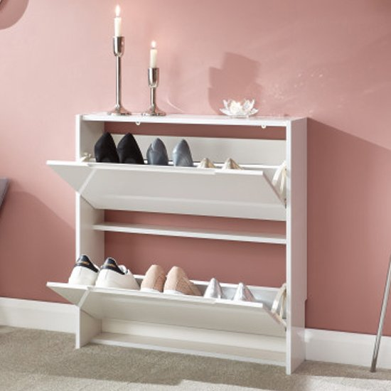 Narrow Wooden 2 Tier Shoe Storage Cabinet In White High Gloss_2