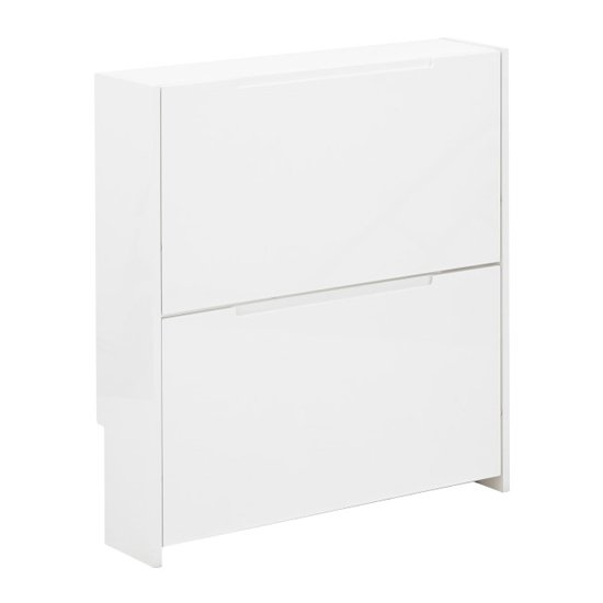 Narrow Wooden 2 Tier Shoe Storage Cabinet In White High Gloss_3