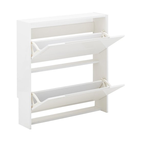Narrow Wooden 2 Tier Shoe Storage Cabinet In White High Gloss_4