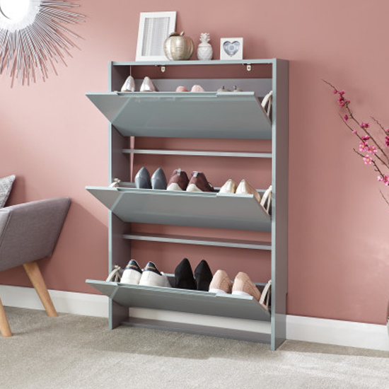 Narrow Wooden 3 Tier Shoe Storage Cabinet In Grey High Gloss_2