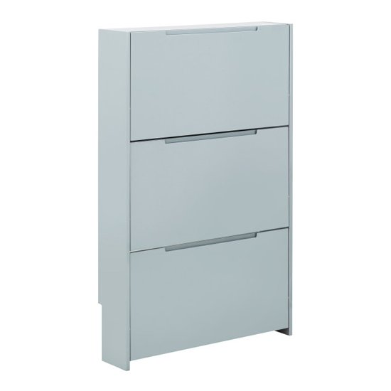 Narrow Wooden 3 Tier Shoe Storage Cabinet In Grey High Gloss_3