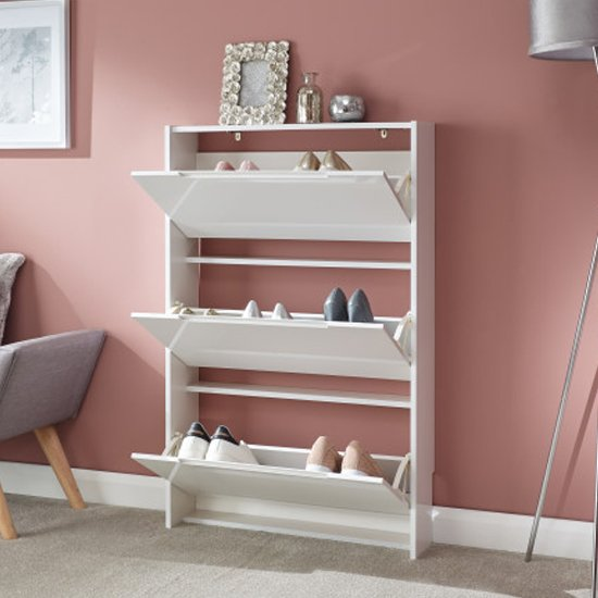 Narrow Wooden 3 Tier Shoe Storage Cabinet In White High Gloss_2