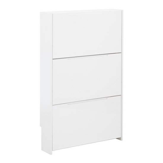 Narrow Wooden 3 Tier Shoe Storage Cabinet In White High Gloss_3