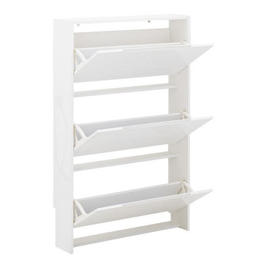 Narrow Wooden 3 Tier Shoe Storage Cabinet In White High Gloss_4