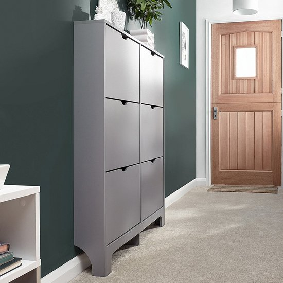 Narrow Wooden Shoe Storage Cabinet In Grey With 6 Drawers