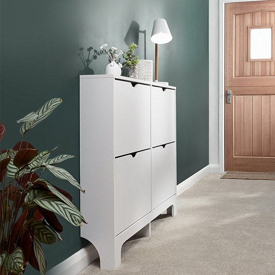 Narrow Wooden Shoe Storage Cabinet In White With 4 Drawers