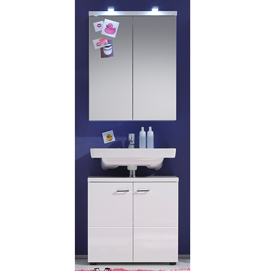 Narto LED Bathroom Furniture Set 1 In White High Gloss