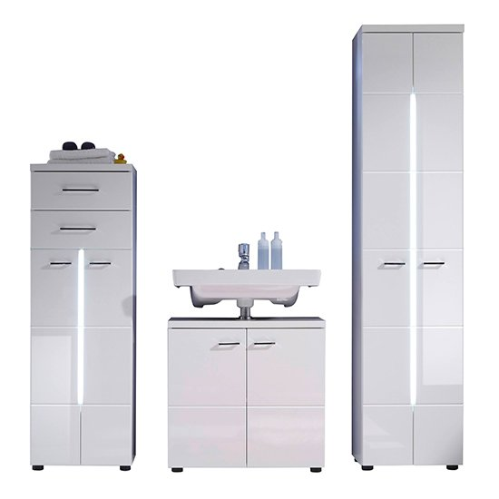 Narto LED Bathroom Furniture Set 4 In White High Gloss