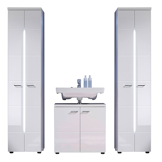 Narto LED Bathroom Furniture Set 7 In White High Gloss